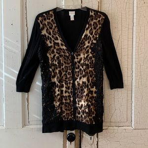 Chico's leopard and lace cardigan Size Small